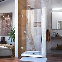 Unidoor 33 to 34-inch x 72-inch Frameless Hinged Pivot Shower Door in Chrome with Handle