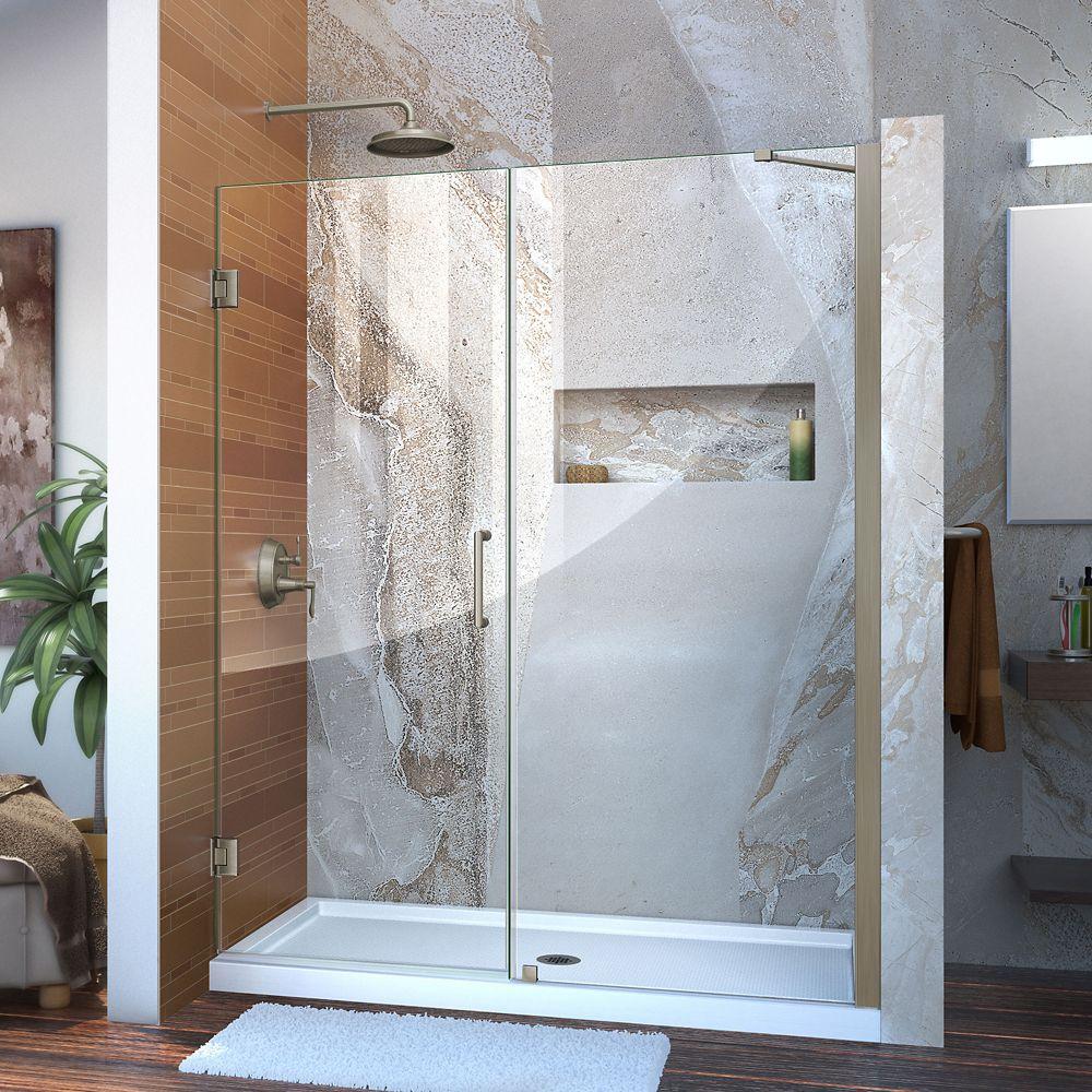 Unidoor 57 to 58-inch x 72-inch Frameless Hinged Pivot Shower Door in Brushed Nickel with Handle