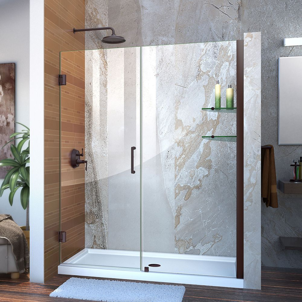 Unidoor 57-inch to 58-inch x 72-inch Frameless Hinged Pivot Shower Door in Oil Rubbed Bronze with Handle