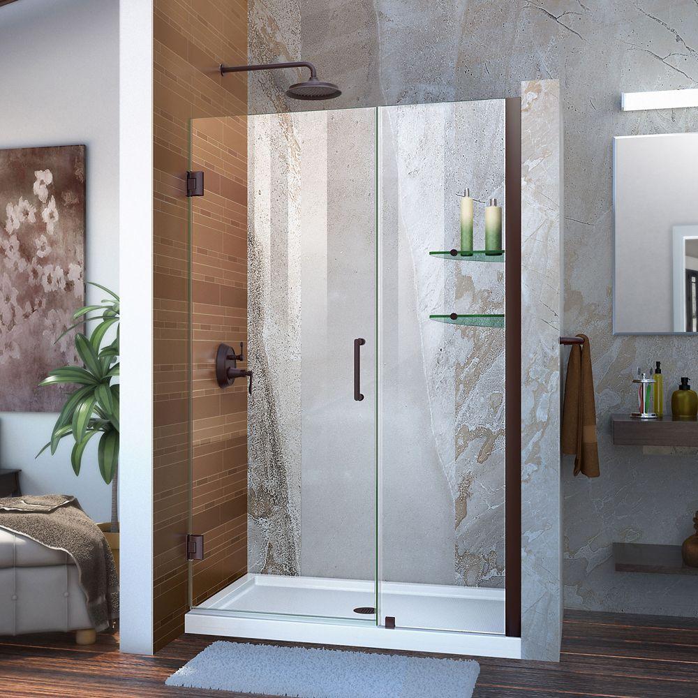 Unidoor 45-inch to 46-inch x 72-inch Frameless Hinged Pivot Shower Door in Oil Rubbed Bronze with Handle