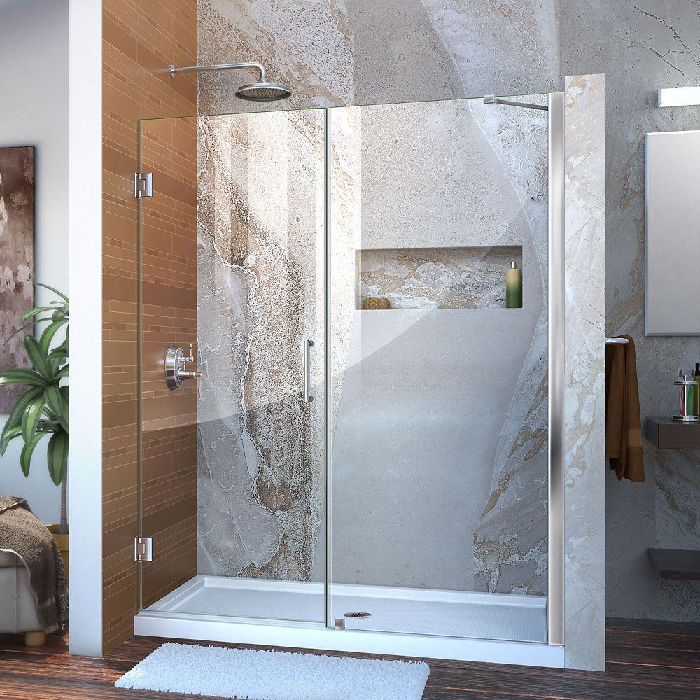 Unidoor 57 to 58 Inch x 72 Inch Semi-Framed Hinged Shower Door in Chrome