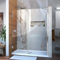 DreamLine Unidoor 57 to 58-inch x 72-inch Frameless Hinged Pivot Shower Door in Chrome with Handle