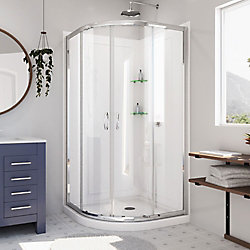 DreamLine Prime 36-inch x 36-inch x 76.75-inch Corner Framed Sliding Shower Enclosure in Chrome with Acrylic Base and Back Walls Kit
