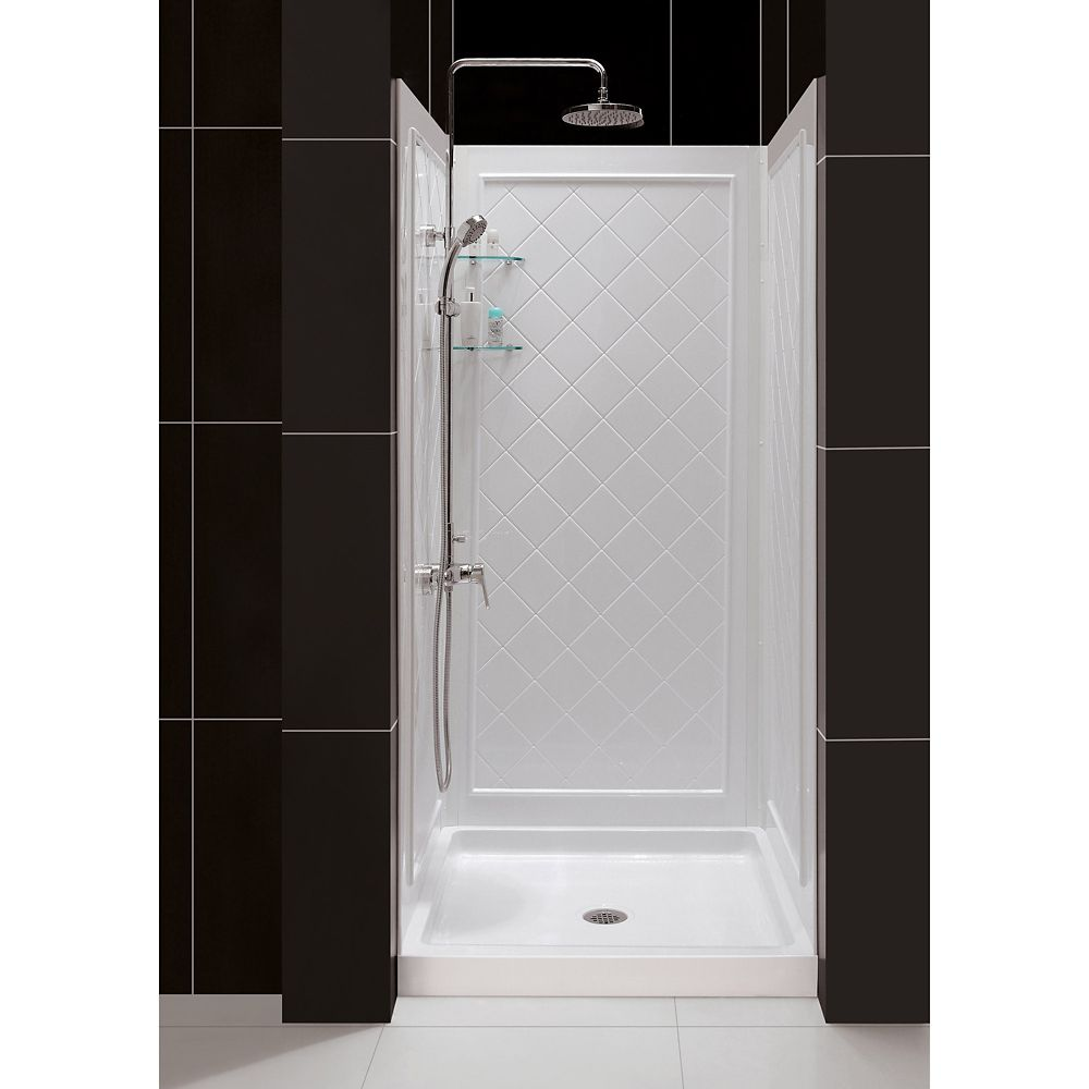 SlimLine 32-inch x 32-inch Single Threshold Shower Kit Base in White Center Drain Base with Back Walls