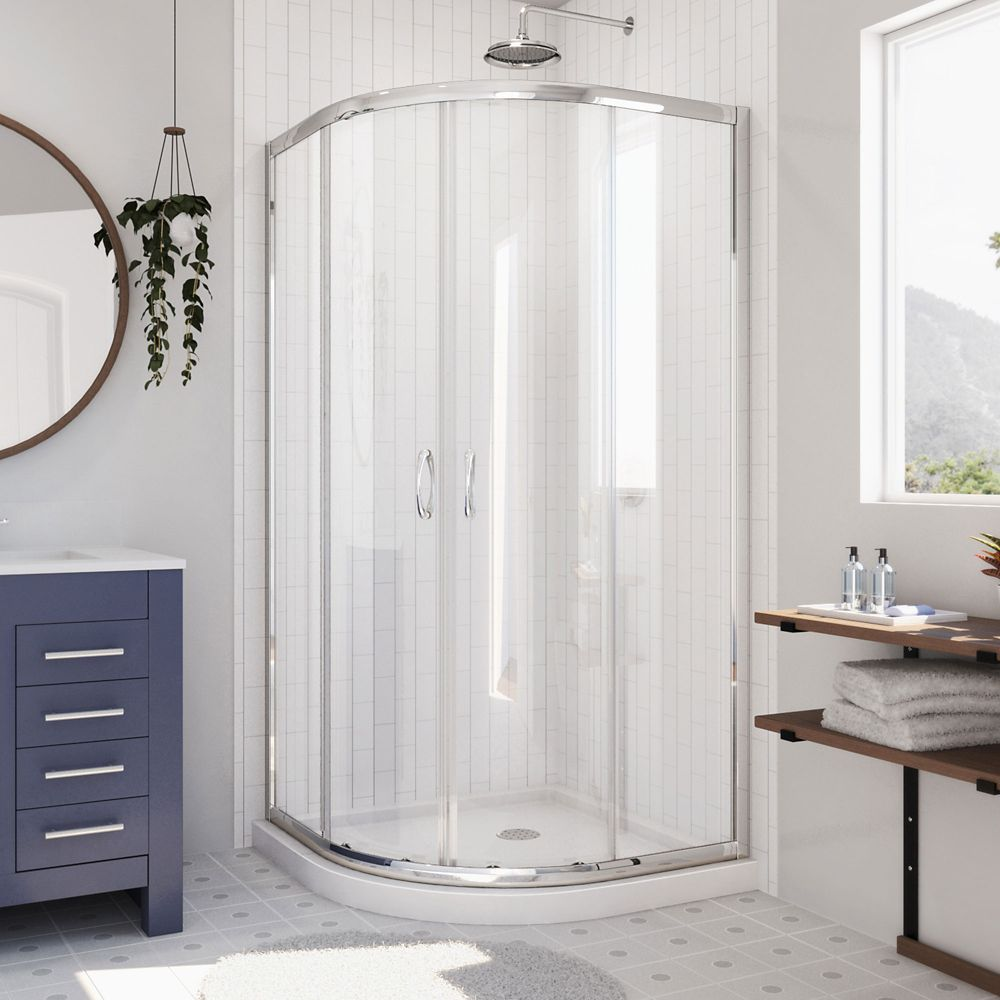 DreamLine Prime 33-inch x 33-inch x 74.75-inch Framed Sliding Shower Enclosure in Chrome with Quarter Round Shower Base