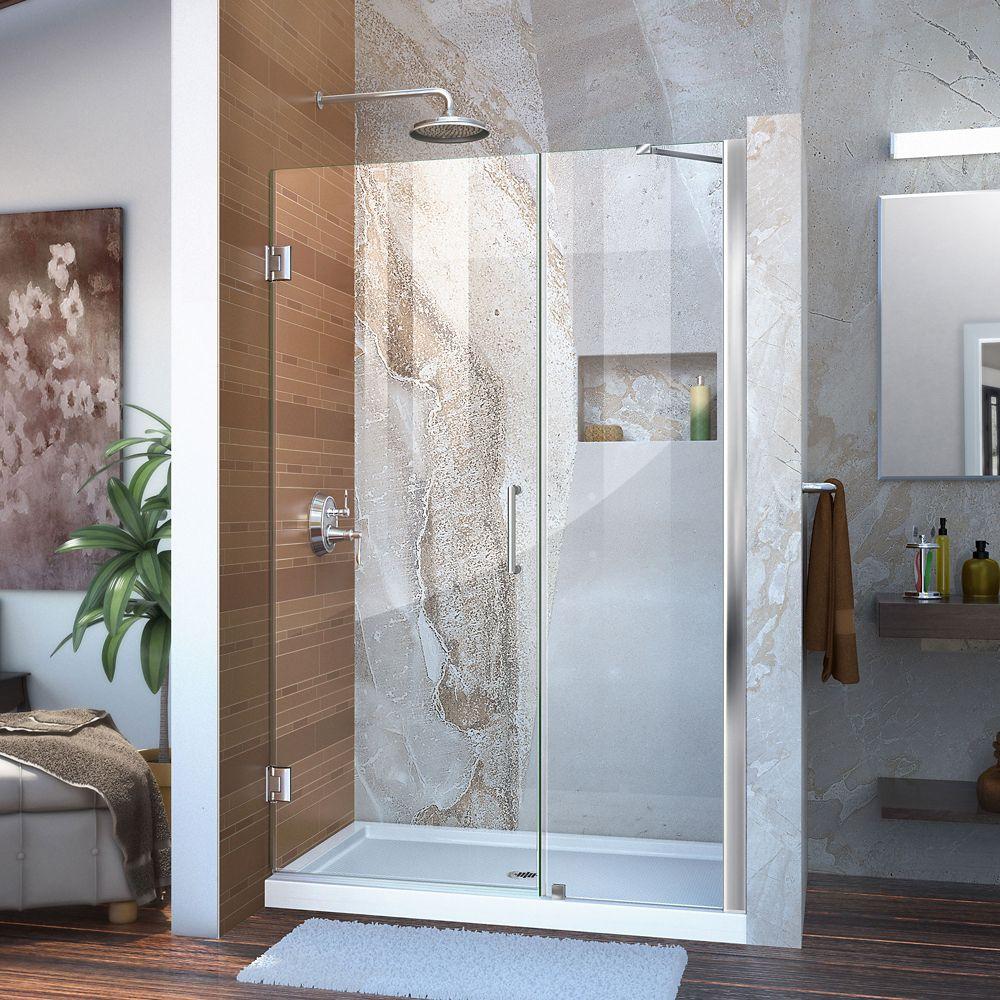 Unidoor 45 to 46 Inch x 72 Inch Semi-Framed Hinged Shower Door in Chrome