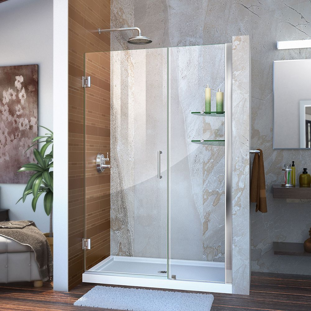 Unidoor 46 to 47 Inch x 72 Inch Semi-Framed Hinged Shower Door in Chrome