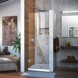DreamLine Unidoor 27-inch W x 72-inch H Frameless Hinged Pivot Shower Door in Chrome with Handle
