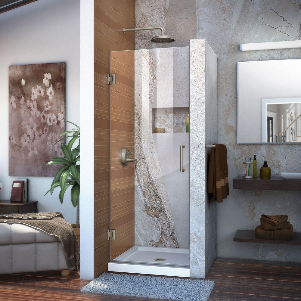 Unidoor 27-inch x 72-inch Frameless Hinged Pivot Shower Door in Brushed Nickel with Handle