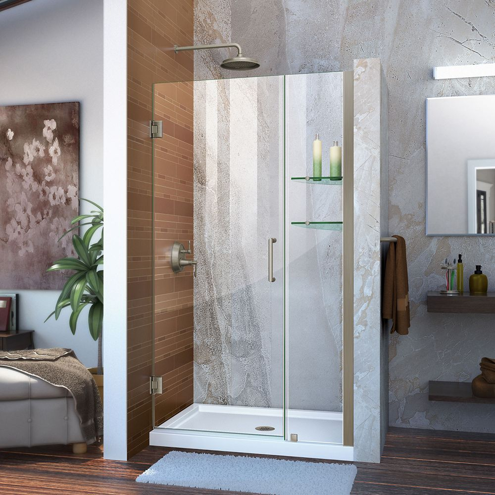 Unidoor 40 to 41 Inch x 72 Inch Semi-Framed Hinged Shower Door in Brushed Nickel