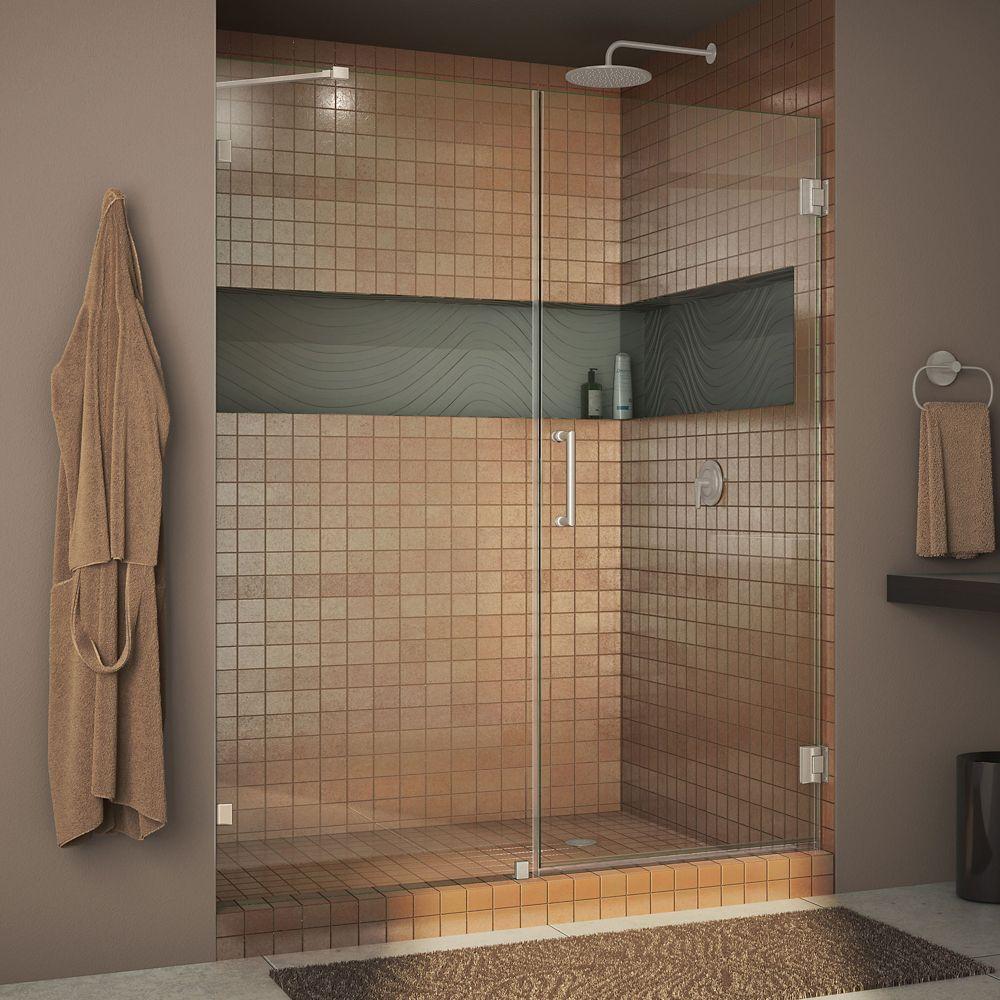 Unidoor Lux 46-inch x 72-inch Frameless Pivot Shower Door in Brushed Nickel with Handle