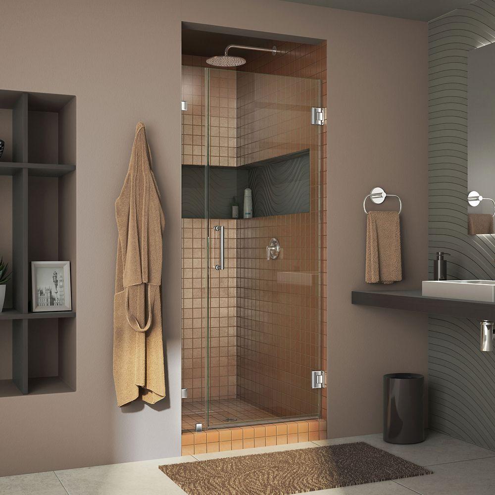 UnidoorLux 34 Inch x 72 Inch Frameless Hinged Shower Door in Chrome