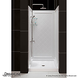 DreamLine QWALL-5 30 to 40 Inch x 30 to 34 Inch x 74 Inch Easy Up Adhesive Shower Backwalls Kit in White