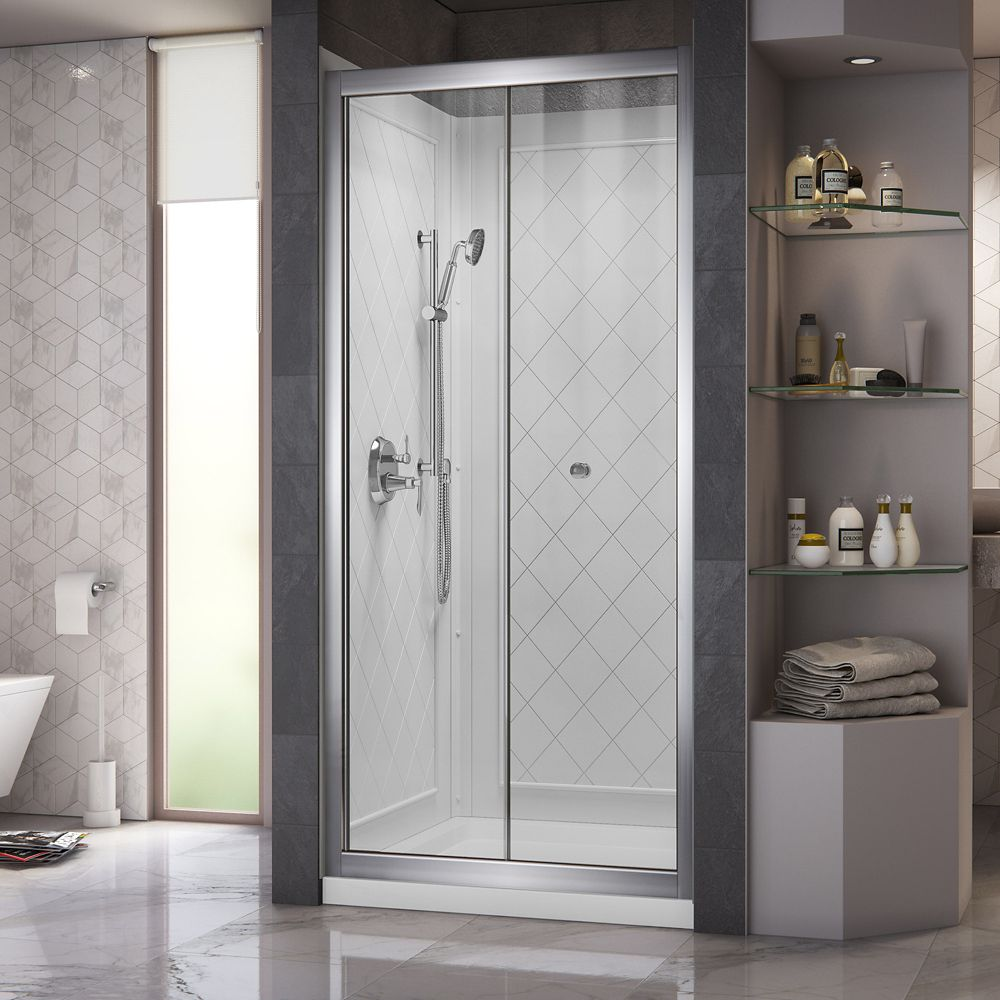 Butterfly 32 Inch x 32 Inch x 76-3/4 Inch Shower Door in Chrome with Center Drain Base and Backwa...