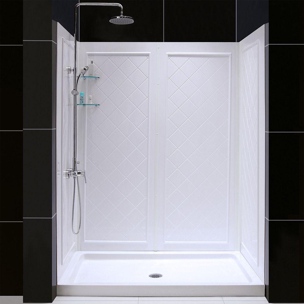 DreamLine 152.4 x 91.44 cm Base de douche à simple seuil et Kit de parois arrière, drain central