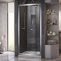 DreamLine Butterfly 36-inch x 36-inch x 74.75-inch Framed Sliding Shower Door in Chrome with Center Drain White Acrylic Base