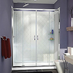 DreamLine Visions 30-inch x 60-inch x 76.75-inch Framed Sliding Shower Door in Chrome with Left Drain Acrylic Base and Back Walls Kit