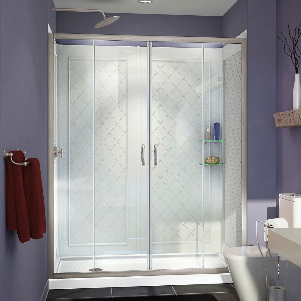DreamLine Visions 30-inch x 60-inch x 76.75-inch Framed Sliding Shower Door in Brushed Nickel with Left Drain Base and Backwalls Kit