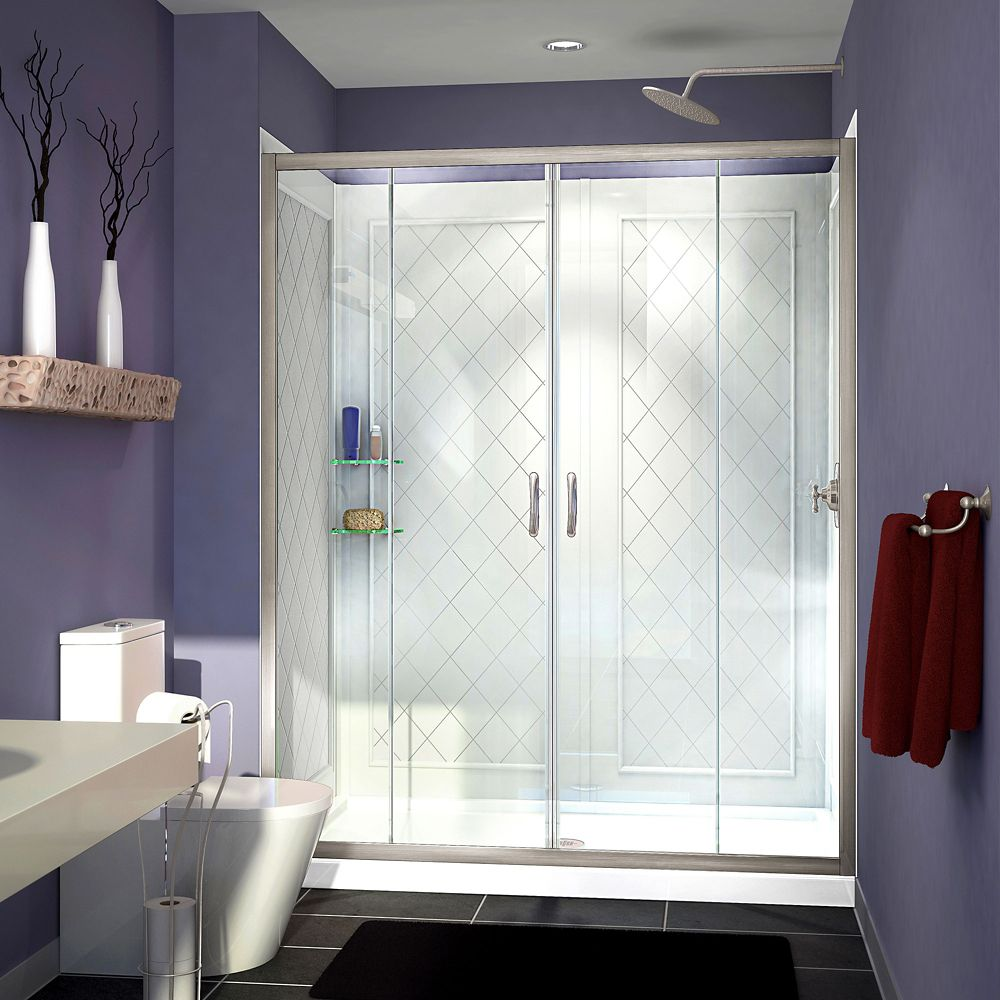 Visions 32 Inch x 60 Inch x 76-3/4 Inch Shower Door in Brushed Nickel, Center Drain Base and Back...