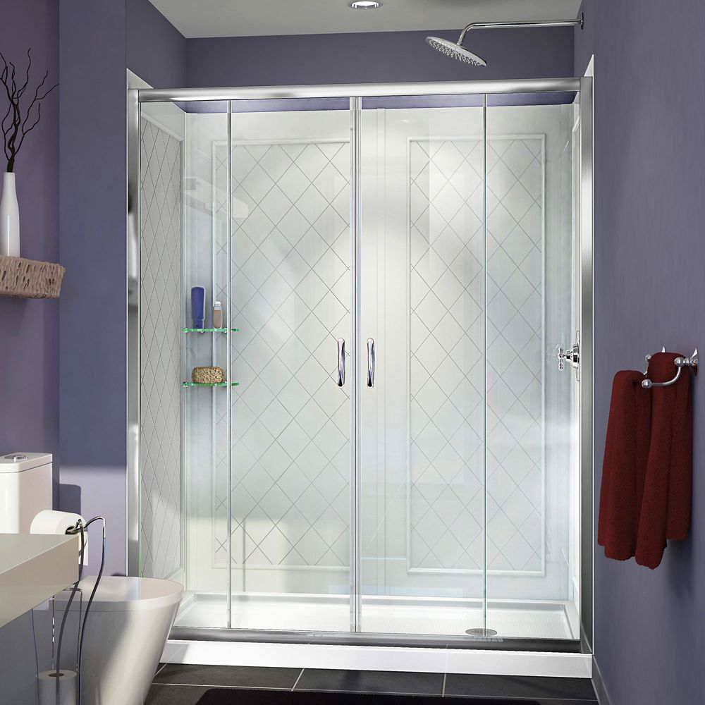 DreamLine Visions 32-inch x 60-inch x 76.75-inch Framed Sliding Shower Door in Chrome and Right Drain Acrylic Base and Back Walls Kit