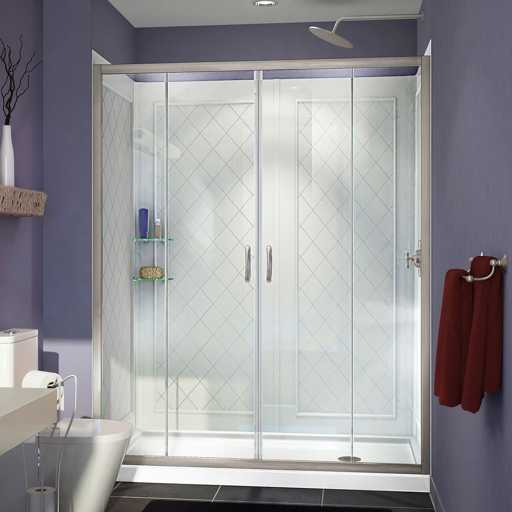 Visions 32 Inch x 60 Inch x 76-3/4 Inch Shower Door in Brushed Nickel, Right Drain Base and Backw...