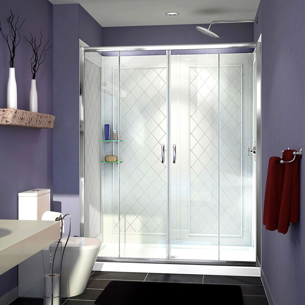 Visions 34-inch x 60-inch x 76.75-inch Framed Sliding Shower Door in Chrome with Center Drain Acrylic Base and Back wall Kit