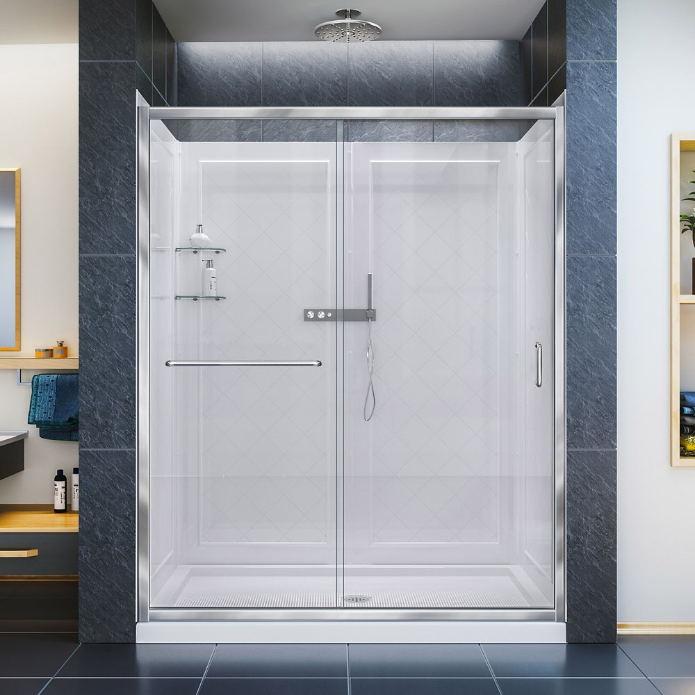 Infinity-Z 30-inch x 60-inch x 76.75-inch Framed Sliding Shower Door in Chrome with Center Drain Base and Back Walls Kit