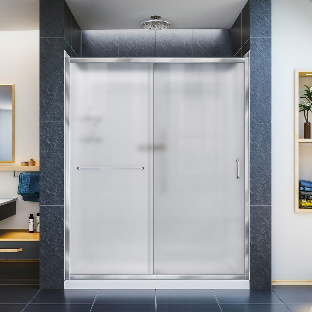 DreamLine Porte de douche, 76.2 x 152.4 cm Base à simple seuil, drain central, Kit de parois arri...