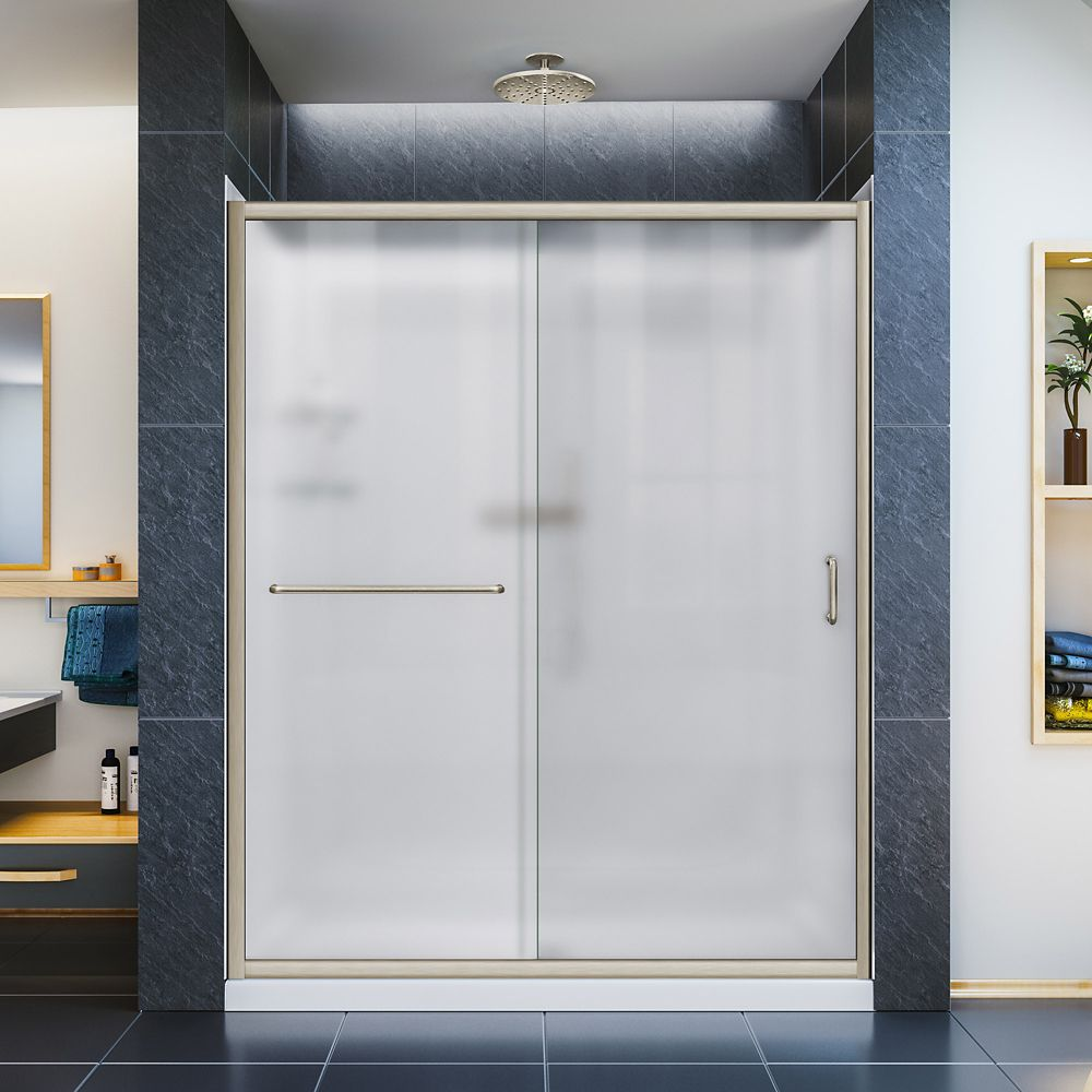 30 Inch x 60 Inch x 76-3/4 Inch Shower Door in Brushed Nickel, Center Drain Base and Backwalls
