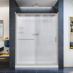 DreamLine Infinity-Z 30-inch x 60-inch x 76.75-inch Framed Sliding Shower Door in Brushed Nickel with Center Drain Base and BackWalls