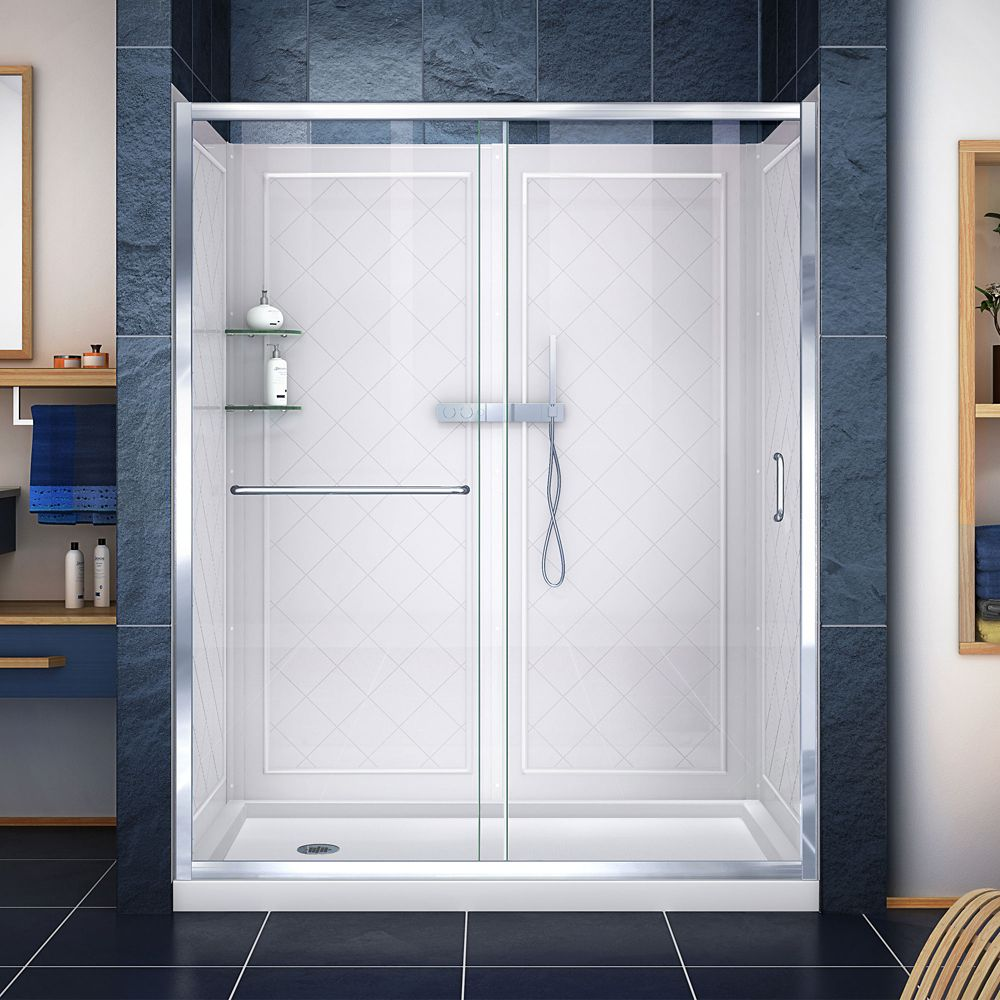 Infinity-Z 30-inch x 60-inch x 76.75-inch Framed Sliding Shower Door in Chrome with Left Drain Base and Back Walls Kit