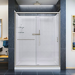 DreamLine Infinity-Z 32-inch x 60-inch x 76.75-inch Sliding Shower Door in Brushed Nickel with Center Drain Base and BackWalls