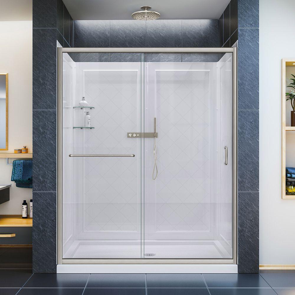 DreamLine Porte de douche, 86.36 x 152.4cm Base à simple seuil, drain central, Kit de parois arri...