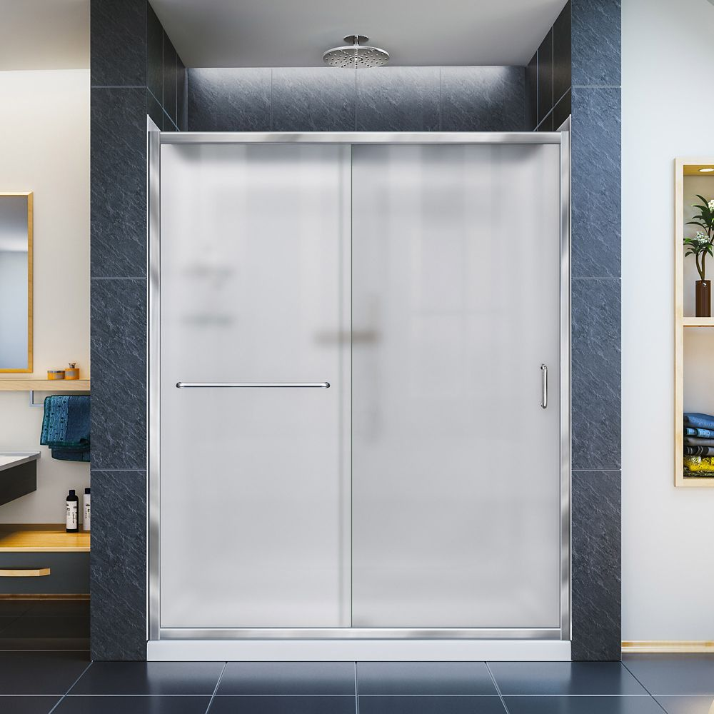 Infinity-Z 34-inch x 60-inch x 76.75-inch Framed Sliding Shower Door in Chrome with Left Drain Base and Back Walls Kit