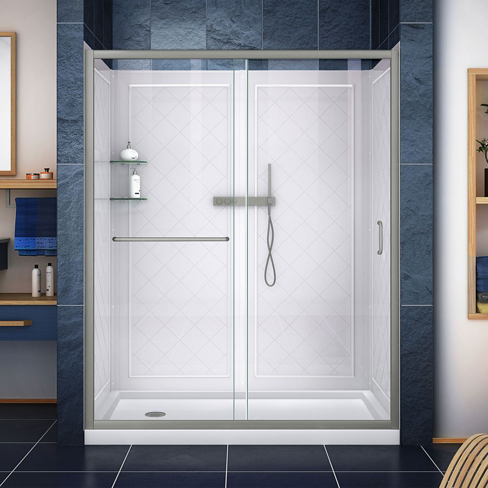 DreamLine Infinity-Z 34-inch x 60-inch x 76.75-inch Sliding Shower Door in Brushed Nickel with Left Drain Base and Back Walls Kit