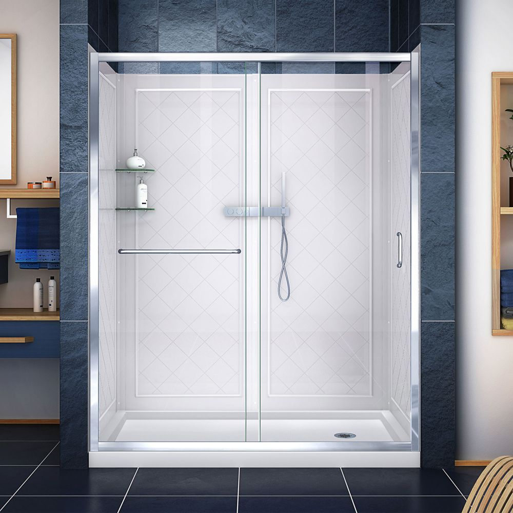 Infinity-Z 34-inch x 60-inch x 76.75-inch Framed Sliding Shower Door in Chrome with Right Drain Base and Back Walls Kit