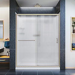 DreamLine Infinity-Z 36-inch x 60-inch x 76.75-inch Framed Sliding Shower Door in Brushed Nickel with Right Drain Base and BackWalls