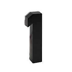 Backlit LED 6-inch Black Metal House Number with Floating Effect
