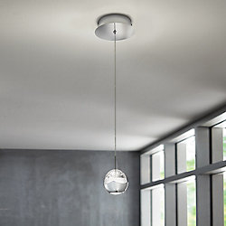 Home Decorators Collection 1-Light Chrome Integrated LED Pendant with Clear Bubble Glass Accents