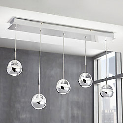 Home Decorators Collection 5-Light Chrome Integrated LED Pendant Light Fixture with Clear Bubble Glass Accents