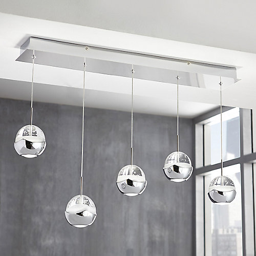 5-Light Chrome Integrated LED Pendant Light Fixture with Clear Bubble Glass Accents