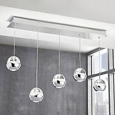 5-Light Chrome LED Pendant