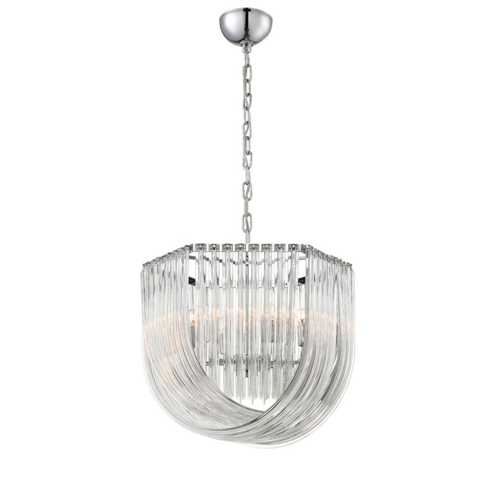 Home Decorators Collection 6-Light 60W Chrome Pendant with Shade of Curved Crystal Glass Formations