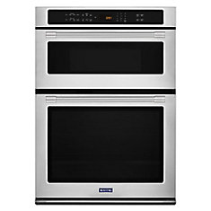 30-Inch Single Electric Self-Cleaning Wall Oven & Microwave with Convection in Stainless Steel