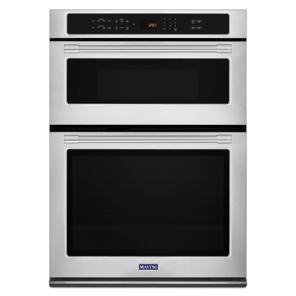 Maytag 30-Inch Single Electric Self-Cleaning Wall Oven & Microwave with Convection in Stainless Steel