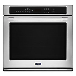 Maytag 30-inch 5.0 cu. ft. Single Electric Wall Oven with Convection in Fingerprint Resistant Stainless Steel