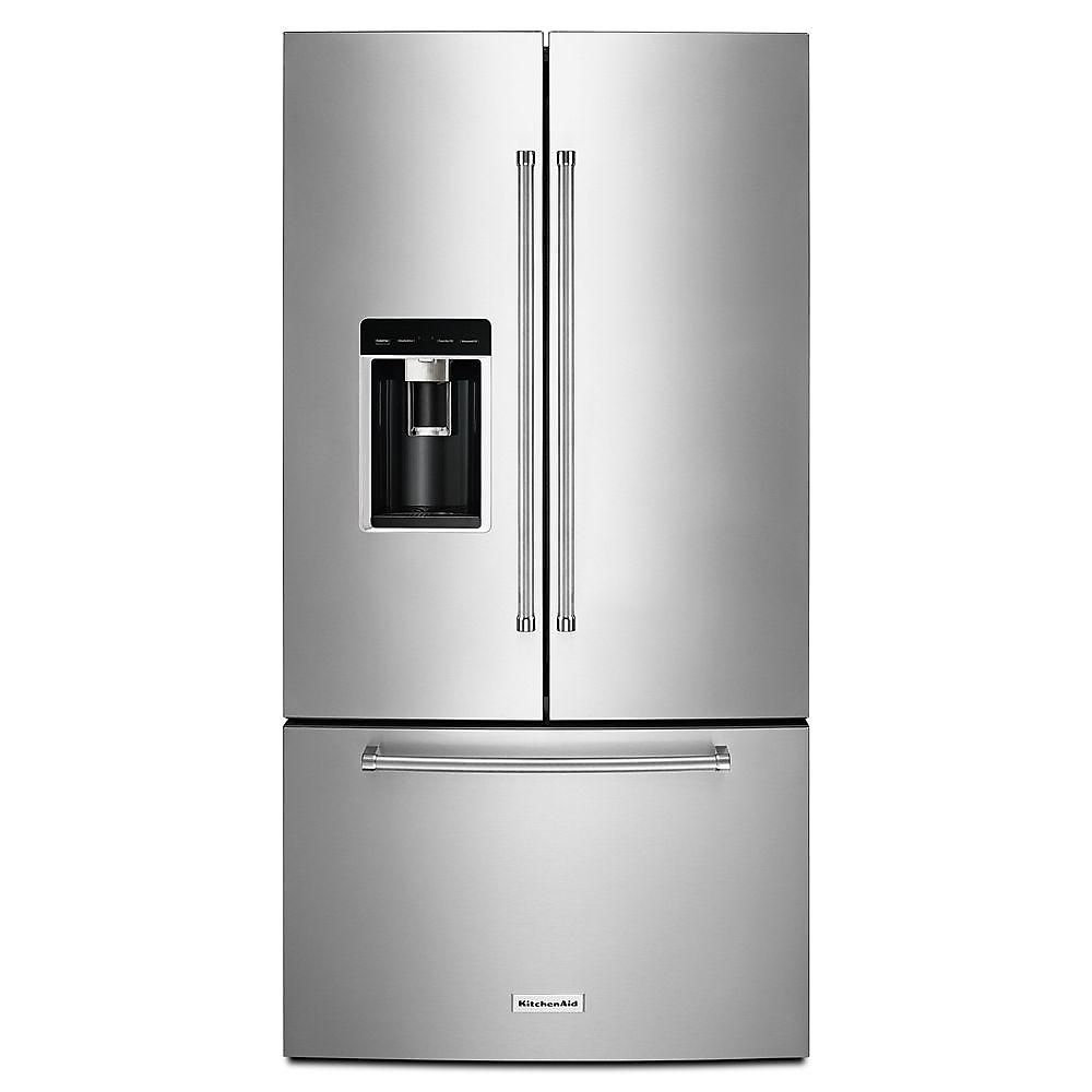 Marvelous 36 Inch W 23 8 Cu Ft French Door Refrigerator In Stainless Steel Beutiful Home Inspiration Ommitmahrainfo