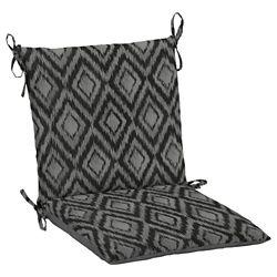 Hampton Bay 19 inch L x 20 inch W x 3.5 inch T Midback Outdoor Dining Chair Cushion in Jackson Ikat Diamond
