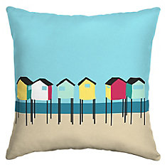 Square Beach Hut Outdoor Throw Pillow in Multi Color
