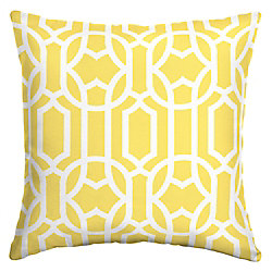 Hampton Bay 16 inch L x 16 inch W x 5 inch T Square Bernadette Trellis Outdoor Throw Pillow in Yellow